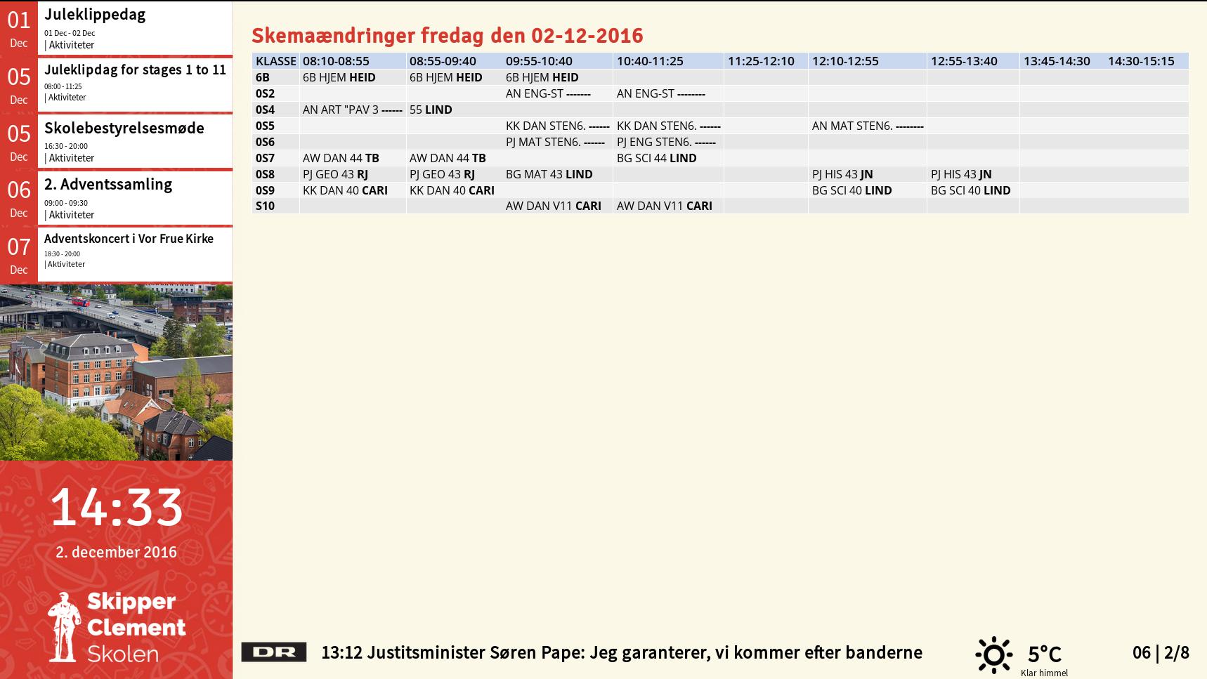 Eksempel på Screenpublisher infoskærm til en skole, med SkoleIntra Skemaændringer og Kalender udtræk